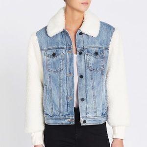 Rebecca Taylor La Vie Denim Faux Fur Jacket size L